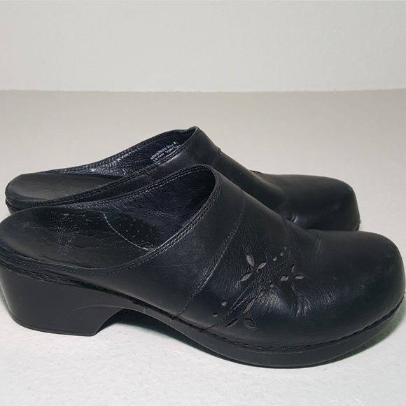 Dansko Black Leather Open Back Clogs 41 US 10.5 11 Slip On Mules Slides Shoes